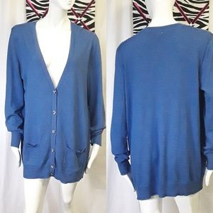 4/20$ Faded Glory blue button down cardigan